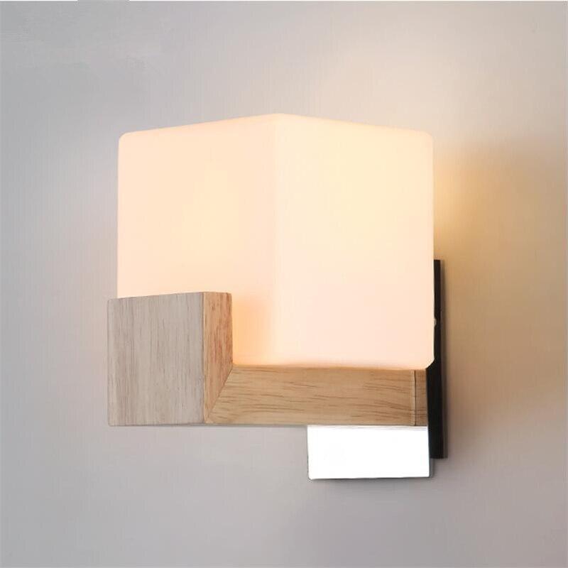 Europea nórdica moderna madera vidrio hecho a mano lámpara de pared ...