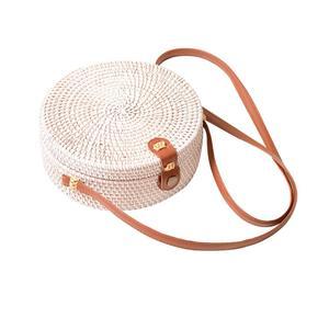 Image 5 - 2019 Ladies Handbag New Round Straw Bag Large Summer Rattan Sack Hand woven Beach Handbag Lady Slanting Pouch