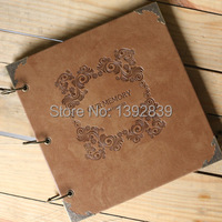 New arrival Quality leather handmade diy gift photo album book fashion vintage for photo scrapbooking our memory 270x260 4 style