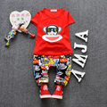 Cool Baby Boy Summer Clothes O-neck Novelty 2016 Summer 100% Cotton Baby Clothing Set Children Monkey Cartoon T-shirt+pants