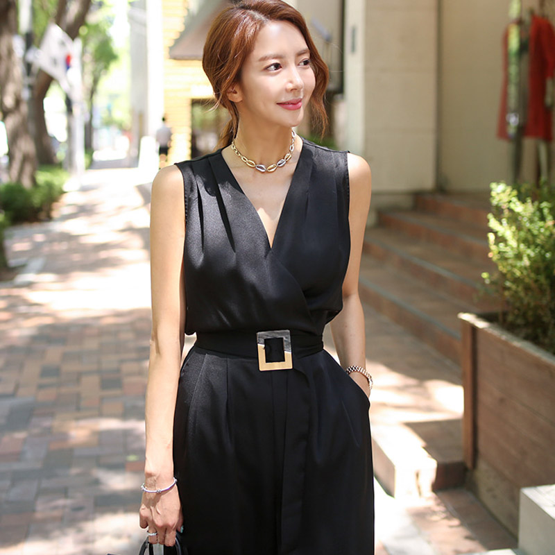 2019 Summer Elegant New Slim Jumpsuit Sleeveless With Belt Runway Office Lady Bodysuit Romper