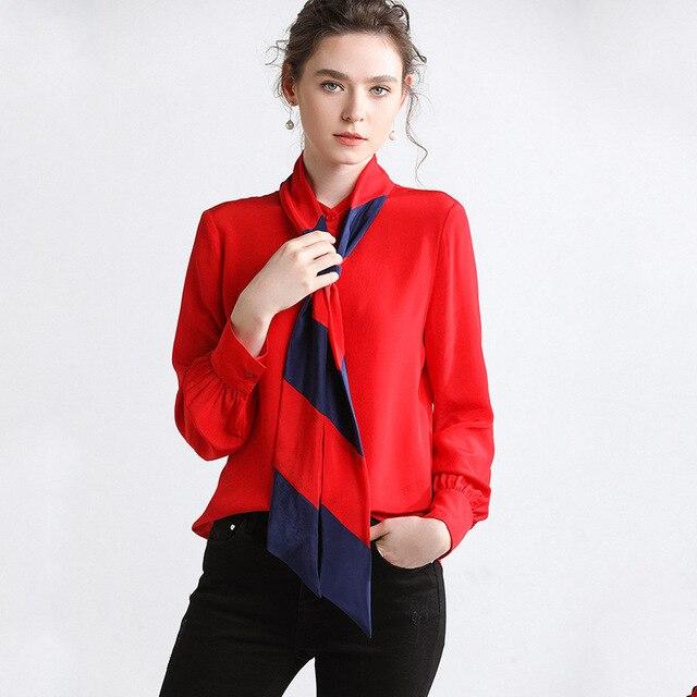 Hodisytian 2019 New Women Blouse Shirts Natural Silk Ribbon Elegant Cardigan Slim Female Tops Blouse Long Sleeve Blusas Femme