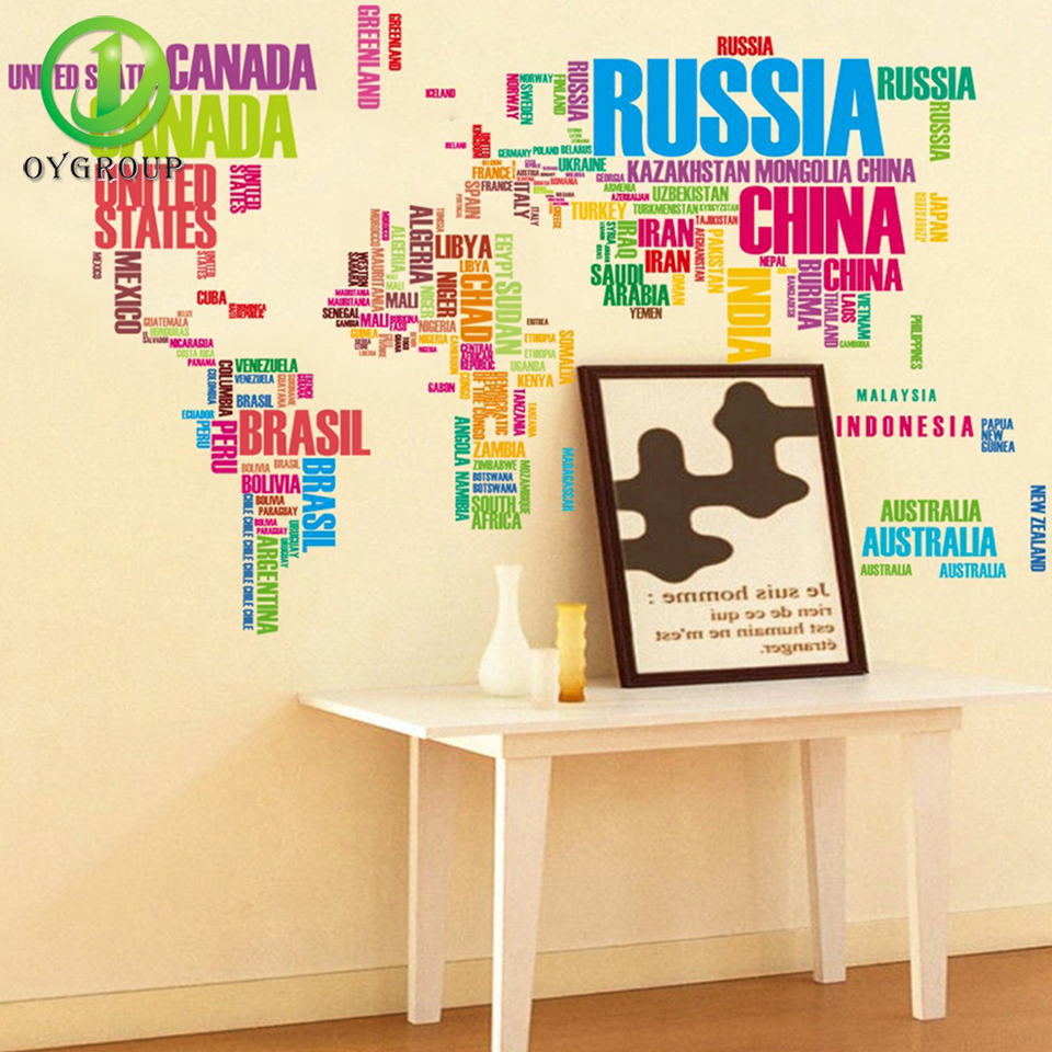 Colorful English Letter World Map Wall Sticker Removable PVC Vinyl ...