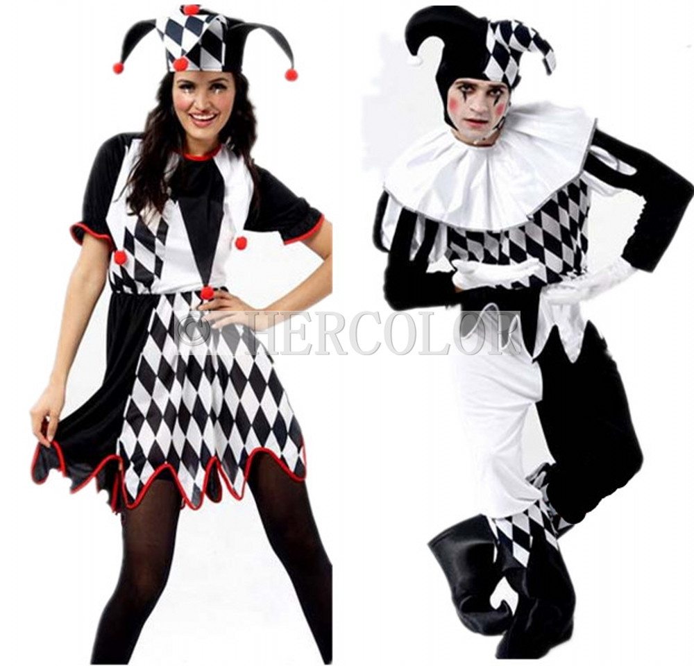 a8fc084088 Harlequin Jester Clown Circus Costume and Hat Halloween Adult Funny Dress  Suit GRR-in Women s Sets from Women s Clothing on Aliexpress.com