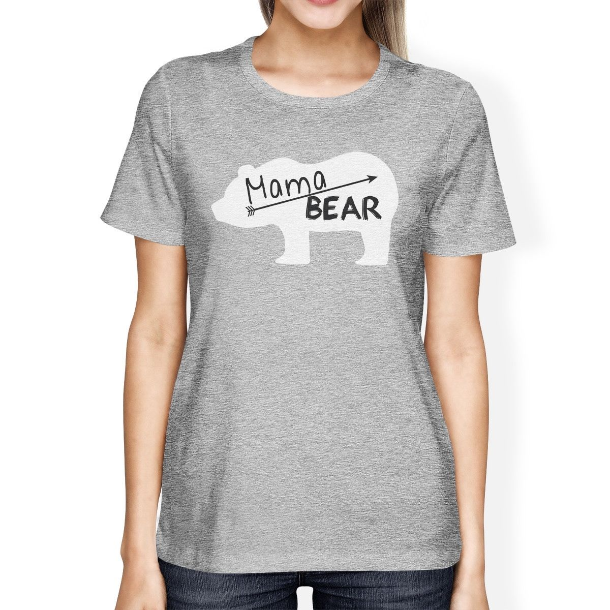 Mama Bear Womens Gray Graphic T Shirt Gift Ideas for Mothers Day Clothing Fashion Harajuku T-Shirt 2017 Summer Women