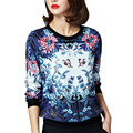 2017 New Arrival Sping Women Tops Fashion Long Sleeve Loose T-shirts Female Casual Sexy Flower Printed Tshirt