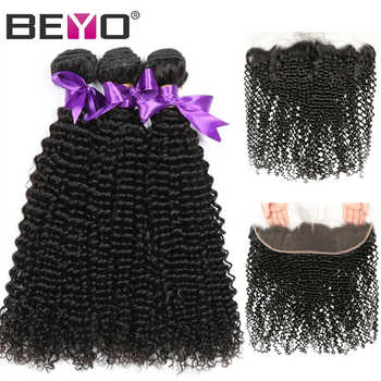 Kinky Curly Hair Bundles With Frontal Brazilian Hair Weave Bundles 100% Human Hair Bundles With Closure Non Remy Hair Beyo - DISCOUNT ITEM  48% OFF All Category