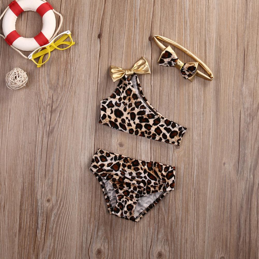 2018 Toddler Kids Baby Girls Swimwear Leopard Tops Bottom headband Beachwear Tankini Bikini Set 3PCS Swimming Outfits in Clothing Sets from Mother Kids