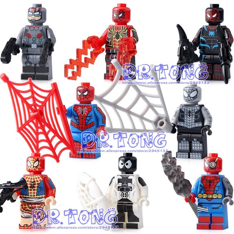 80pcs/lot SY674 Marvel Spiderman Figure Set Venom Carnage Iron Spider-Man Building Blocks Sets Model Bricks Toys Spider Man [bainily]511pcs superheroes space station iron man base attack on avengers tower model diy building blocks bricks toys