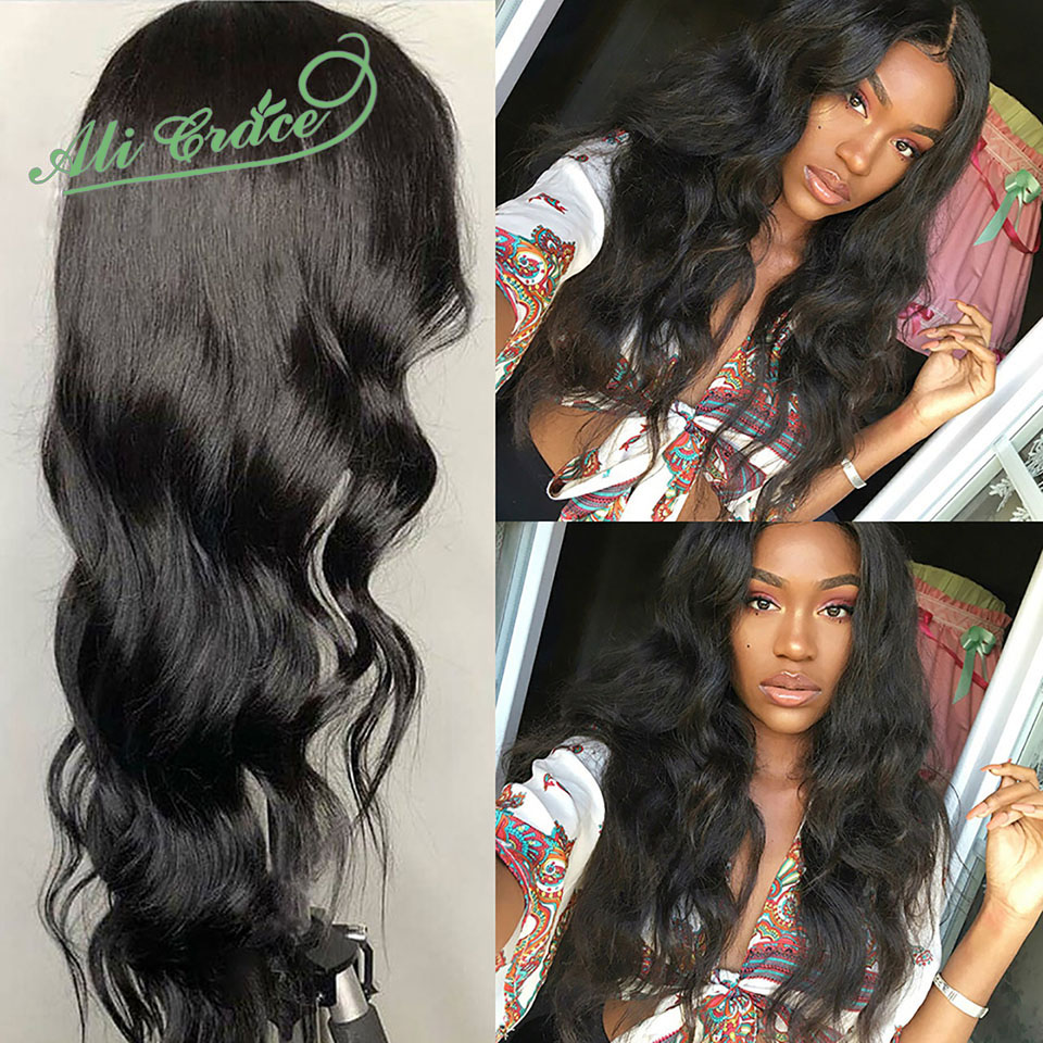 Ali Grace Malaysia Body Wave 13 6 Lace Front Human Hair Wigs 150 Density Pre Plucked