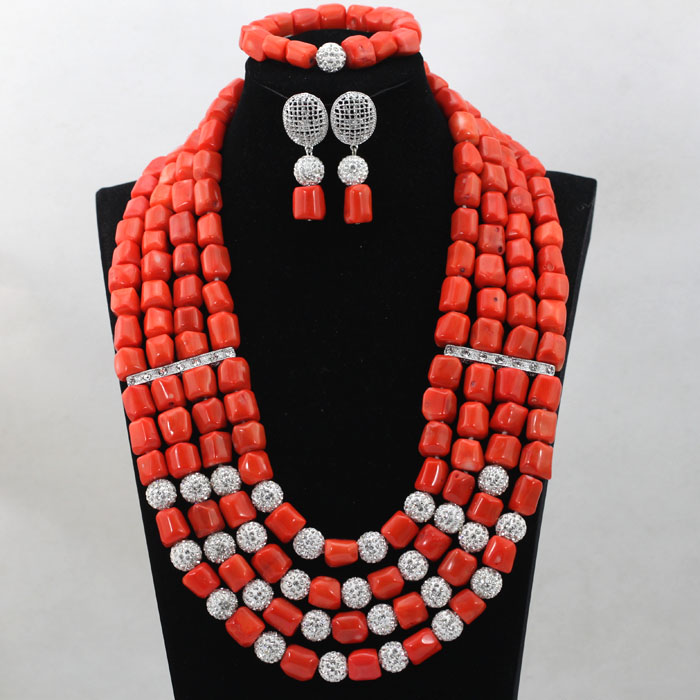 Beaded Coral-Jewelry New Women Square-Shaped ABL474 Trendy Party/event Luxury