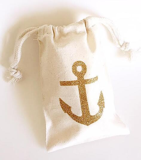 Glitter Nautical Anchor Wedding Hangover Kit Jewelry Favor Muslin Bags Bachelorette Hen Bridal Shower Champagne Party Gift Bag In Wring