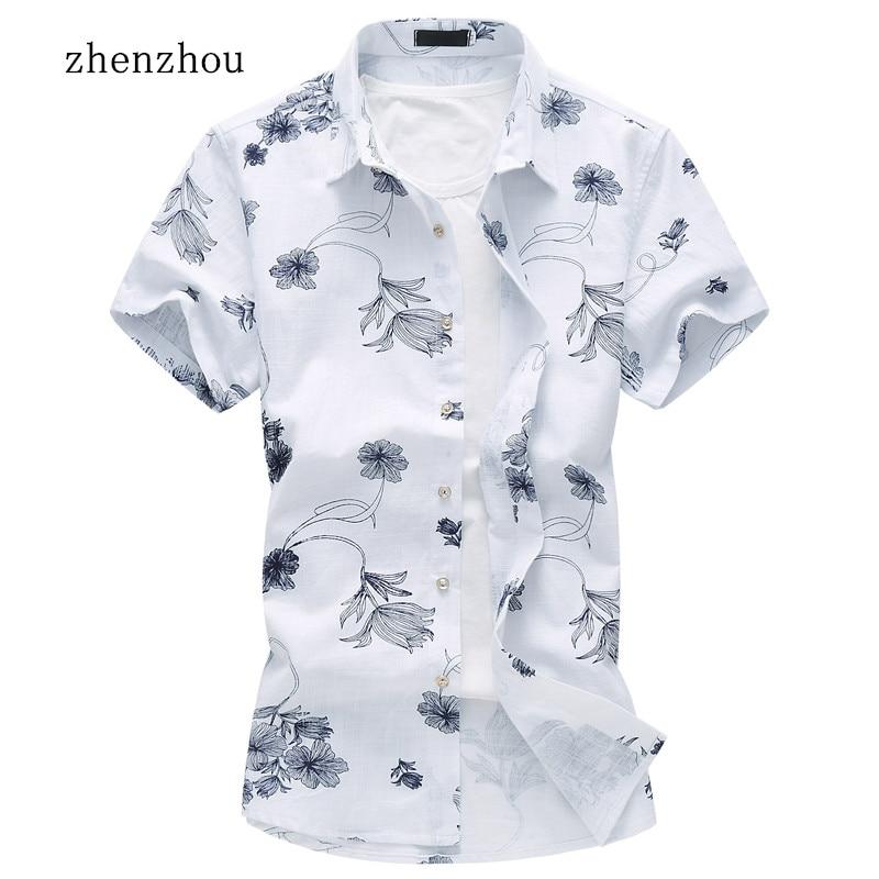 ZhenZhou Letní krátký rukáv Pánské košile Povlečení Mužské oblečení Společenské ležérní košile Muži M-7XL Pánské košile s krátkým rukávem