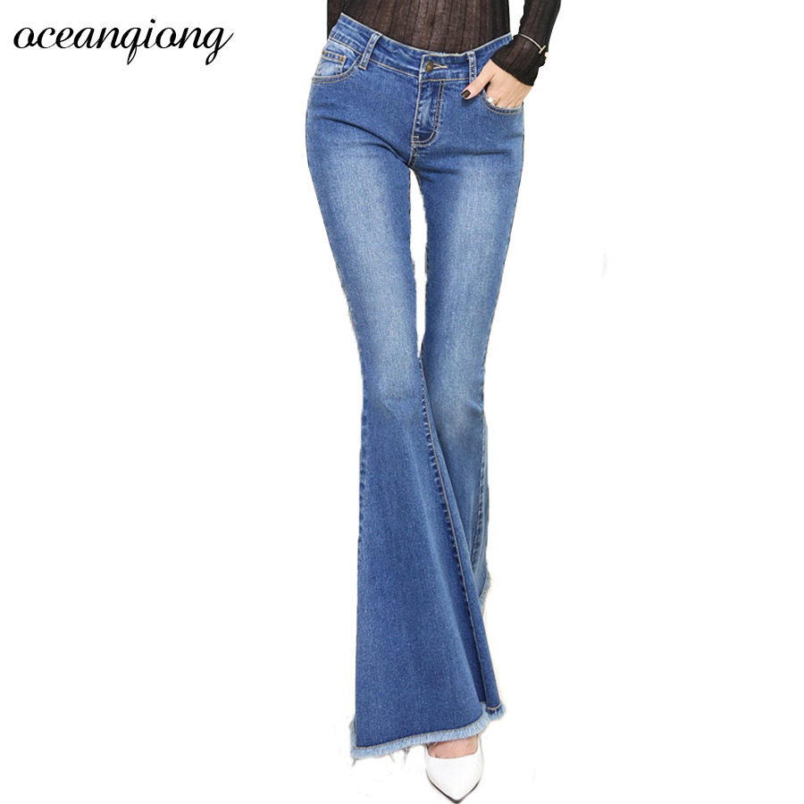 High Waist Jeans Wide Leg Women Winter Skinny Flare Pants Jeans  2017 Autumn Slim Denim Pants Female Light Blue Long Trousers fashion autumn embroidery high waist flare jeans pants plus size stretch skinny jeans women wide leg slim hip denim boot cuts