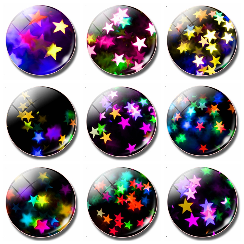 Luminous Star 30 MM Fridge Magnet Fluorescent Clusters of Stars Glass Dome Magnetic Refrigerator Stickers Note Holder Home Decor