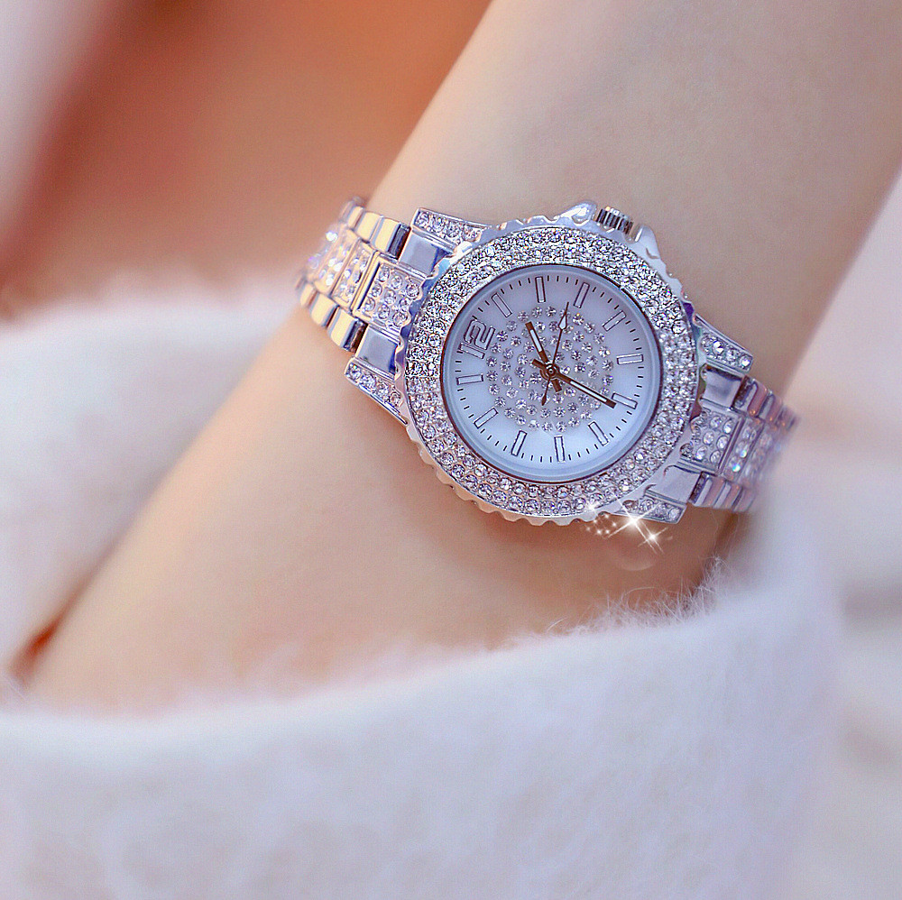 Women 39 s blingbling Watches Lady 39 s Rhinestone Watch Female Stainless Steel Band Quartz Wristwatch Montre Femme Relogio Feminino in Women 39 s Watches from Watches