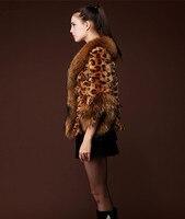 Лидер продаж осень-зима женские высокие имитация леопарда волос Мех животных воротник пальто с короткими рукавами Куртка с воротником