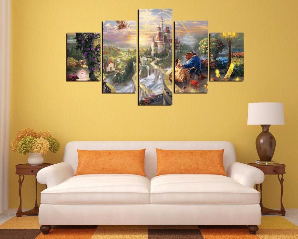 Free shipping,5 Pieces(No Frame) Thomas Kinkade Beauty and The Beast ...
