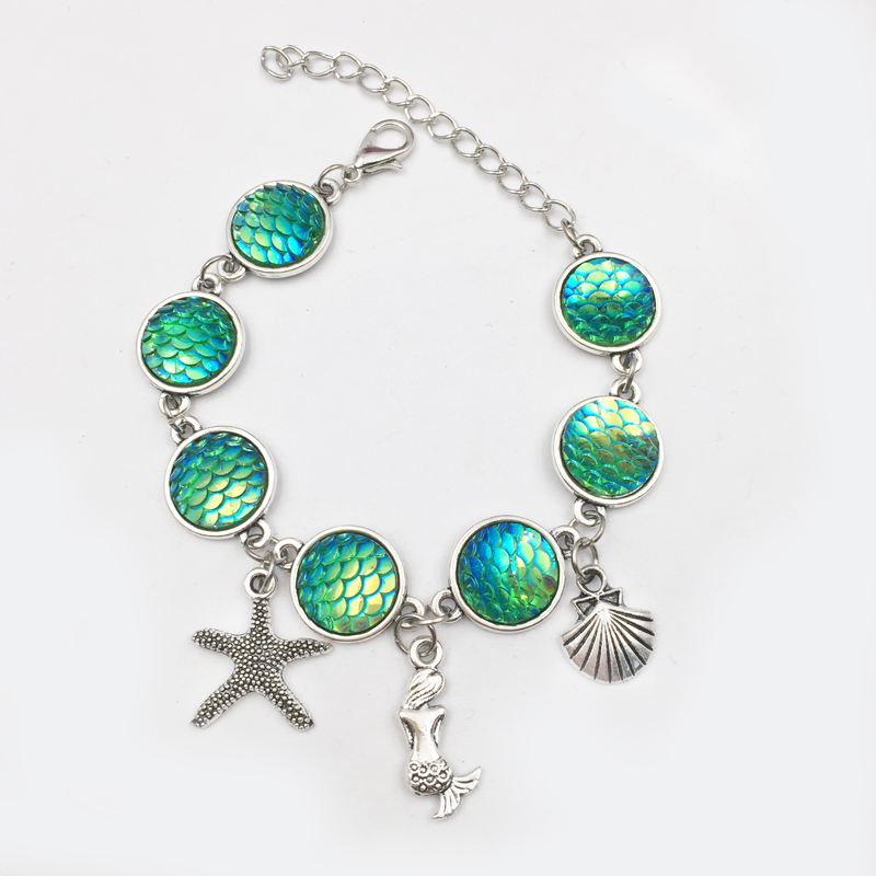 1pieces Summer Beach Style Mermaid Pendant bracelet Holographic shimmery mermaid jewelry Birthday Gifts 7 Colors availab