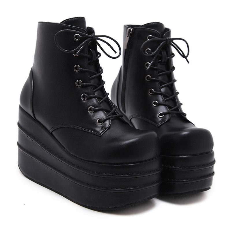 837602a01aed HAIYUELI Womens Wedge Boots Fashion Platform Shoes Women Punk Black Gothic  Ankle Boots Womens Cosplay Motorcycle Boots-in Ankle Boots from Shoes on ...
