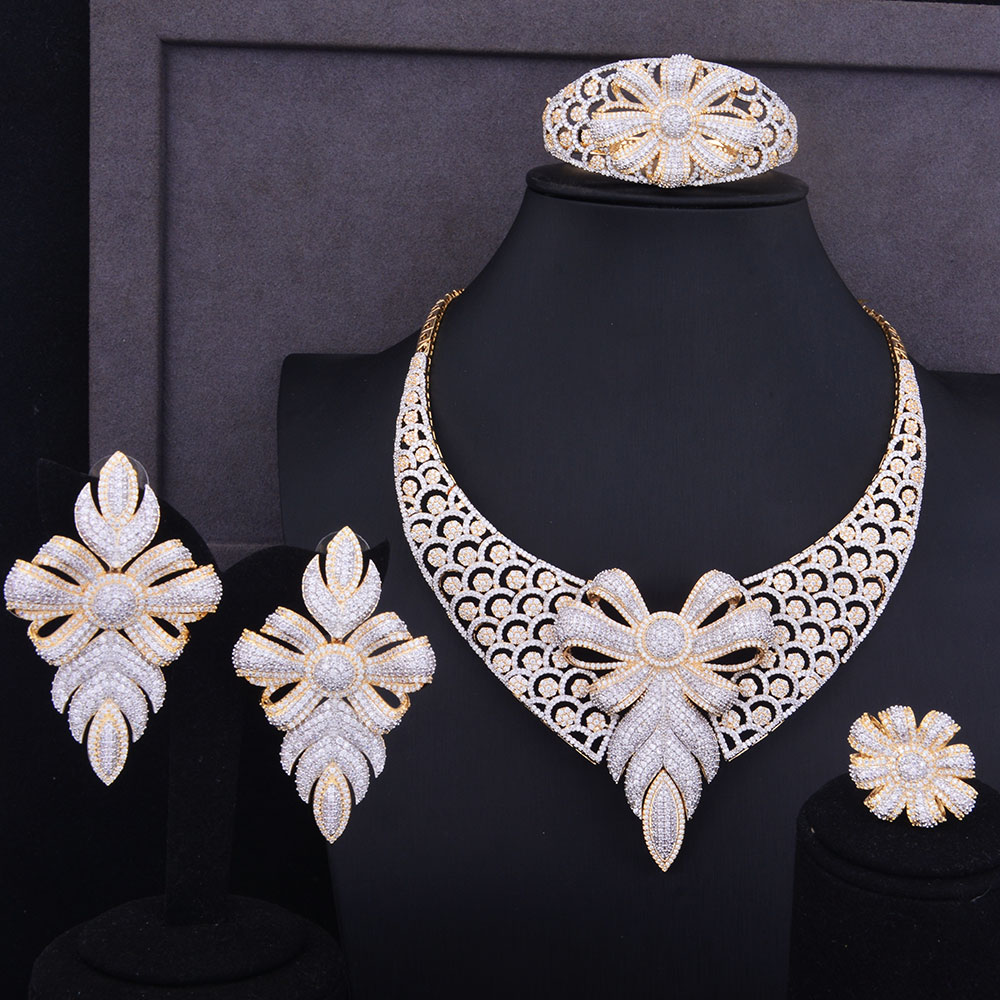 Godki Super Luxury Snowflake Flower Women Wedding Cubic