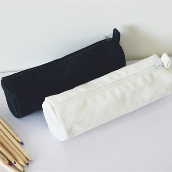 Estuches de lápices con cremallera estilo japonés redondo en blanco, bolsas de algodón para cosméticos, bolsas de maquillaje, bolso de mano para teléfono móvil