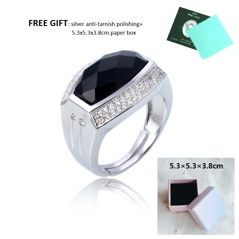 fashion bigger black cubic zircon stone sterling s925 man jewlery silver as a gift for boyfriends