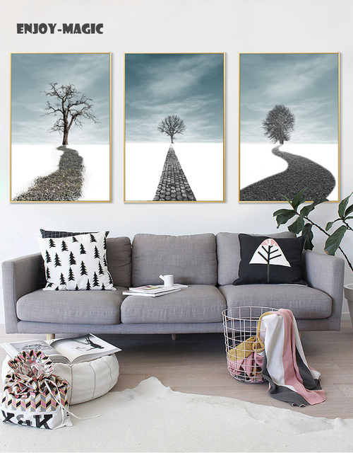 Home Decor Canvas Poster Dream Road Way Tree Decoration Wall Art Modern 3 Piece Hd