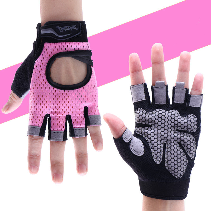 1 Pair Ladies Anti-skid Breathable Gym Gloves Body Building Training Sport Dumbbell Fitness Exercise Weight Lifting Gloves ...