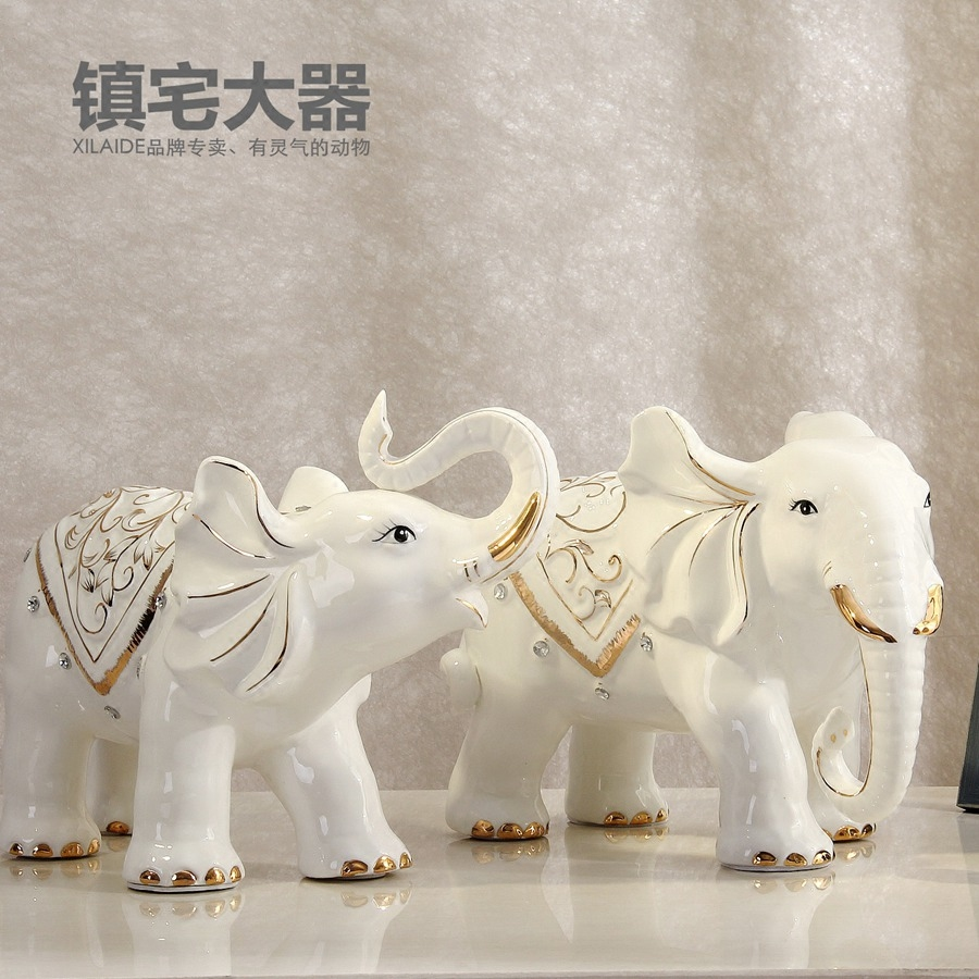 White Ceramic Lucky Elephant Statue Home Decor Crafts Room