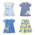 Nuevo 2017 de la Marca de Calidad 100% Del Algodón Del Bebé Niñas Vestido Corto ropa de Niños Ropa Niños Niñas Casuales de manga Vestido Para El Bebé chica