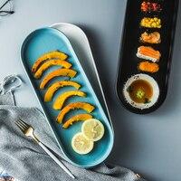 Rectangular Modern Dinnerware White Dinner Plates Snack Tray Dishes Long plate dishes
