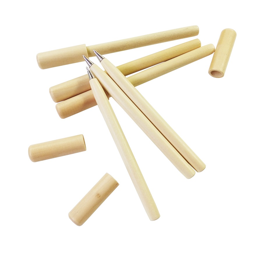 20 Pcs/lot Cute Kawaii Wooden Ballpoint Pen Simple Log Style Ball Pen Office Supplies Wholesale
