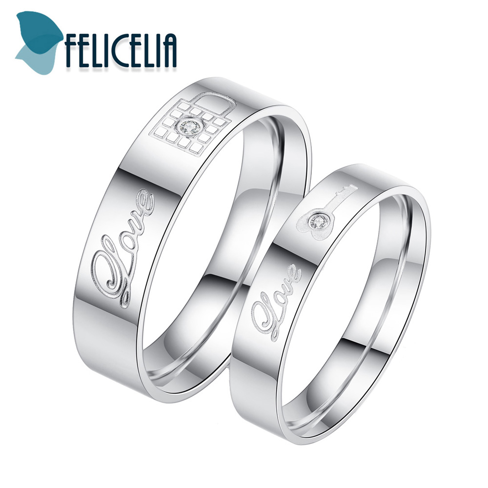 Rings Lock Stainless-Steel Small Jewelry Engagement-Band Romantic Key-Design Promise