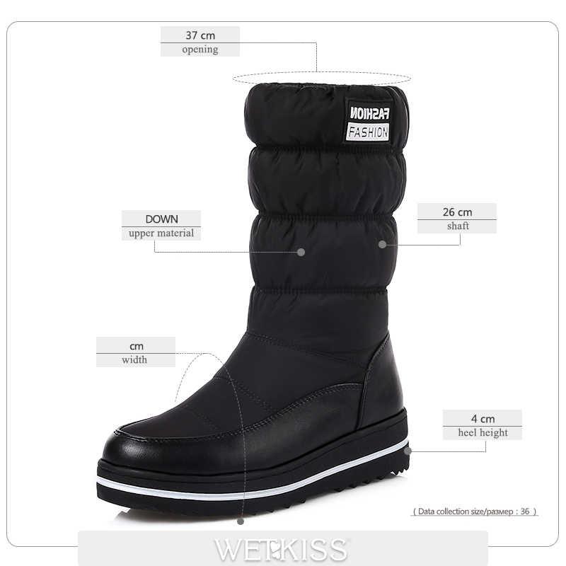 WETKISS 2018 Yeni Artı Boyutu 35-44 Peluş Sıcak Aşağı Kar Botları Kadın Kaymaz Takozlar Ayakkabı Kadın Kış çizmeler Platformu Kürk Ayakkabı