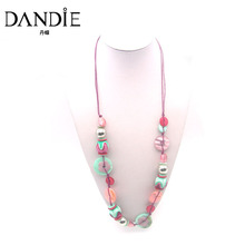 Dandie Fashion Pink, Blue shell Necklace, Statement Handmade Jewelry For Spring Summer Daily Wear