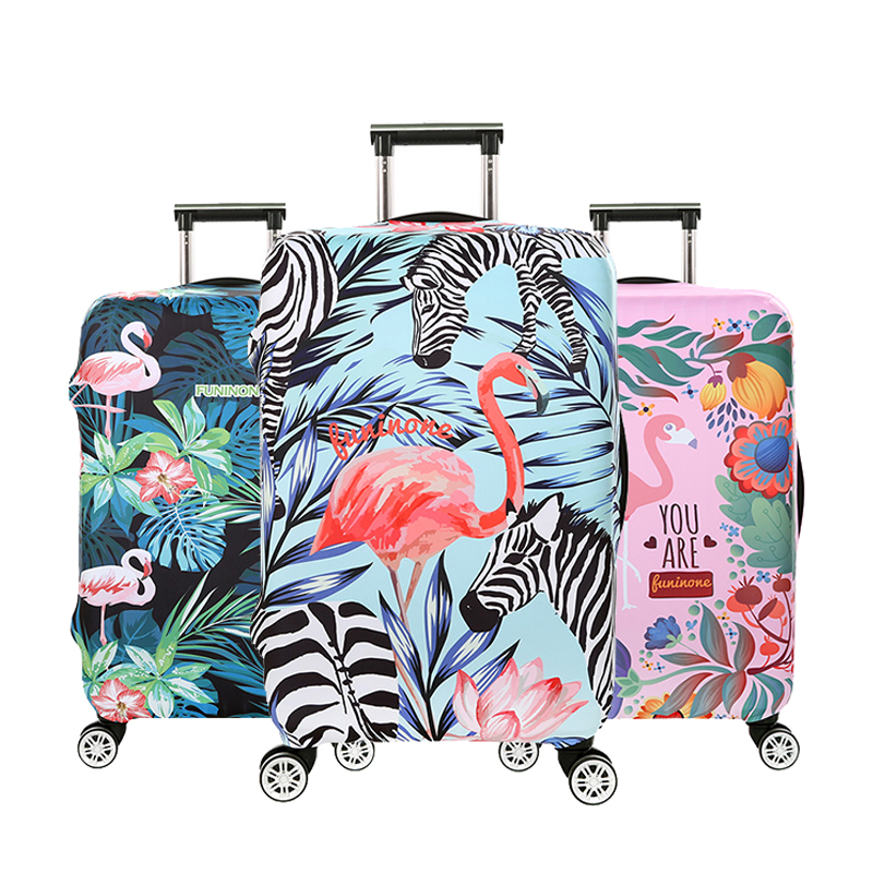 Travel accessories Luggage cover Suitcase protection baggage dust cover Trunk set Trolley case Elasticity Flamingos pattern стоимость
