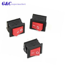 цена на 5pcs KCD1-101 AC 6A 250V 2 Pin ON/OFF I/O SPST Snap in Mini Red Button Boat Rocker Switch 15*21MM