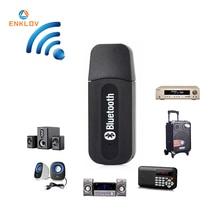 цена на ENKLOV Bluetooth V2.1+EDR USB Drive Audio Receiver 3.5mm Cable Black Bluetooth Car kit For Phone&Computer Bluetooth Adapter