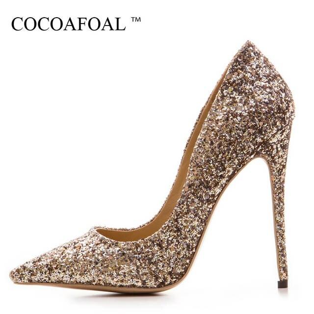 5cbcdf5c617d COCOAFOAL femme Sexy violet chaussures grande taille 33 43 doré Stiletto  fête mariage argent escarpins 12 CM Ultra hauts talons chaussures 2018 dans  Pompes ...