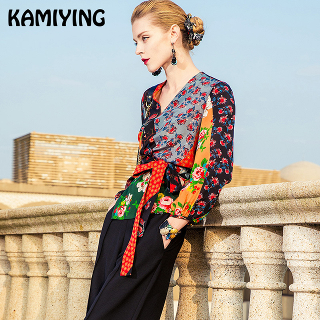 KAMIYING Lace Up Patchwork Shirts Women Autumn 100% Real Silk Office Lady Top Flower Blusas Mujer De Moda 2018 PKHA031