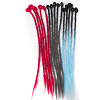 QP Hair 24 Soft Crochet Braids Red Blue Synthetic Hair Handmade Braiding Hair Dreadlocks Kanekallon Hair
