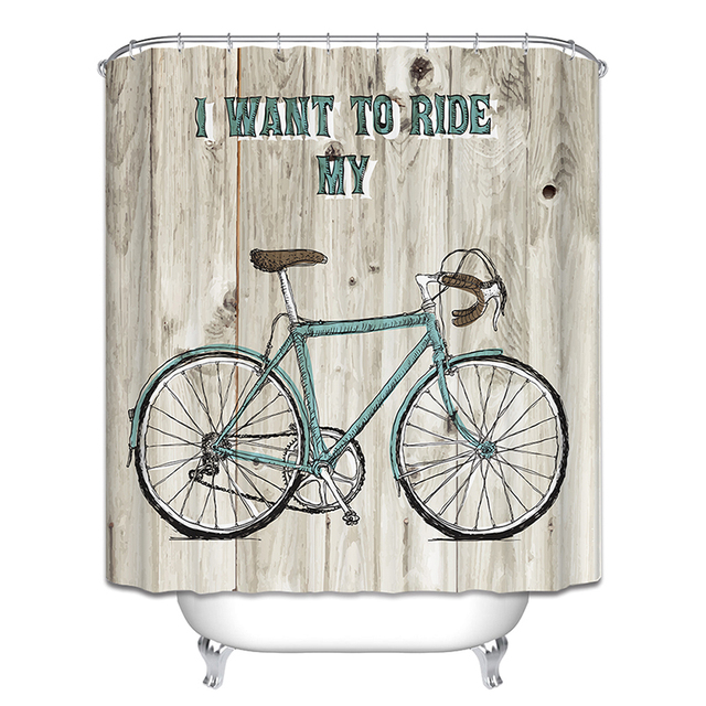 New Hot Bicycle Shower Curtain Butterfly Tree Cage Birds Fan Bathroom Curtains 6 O