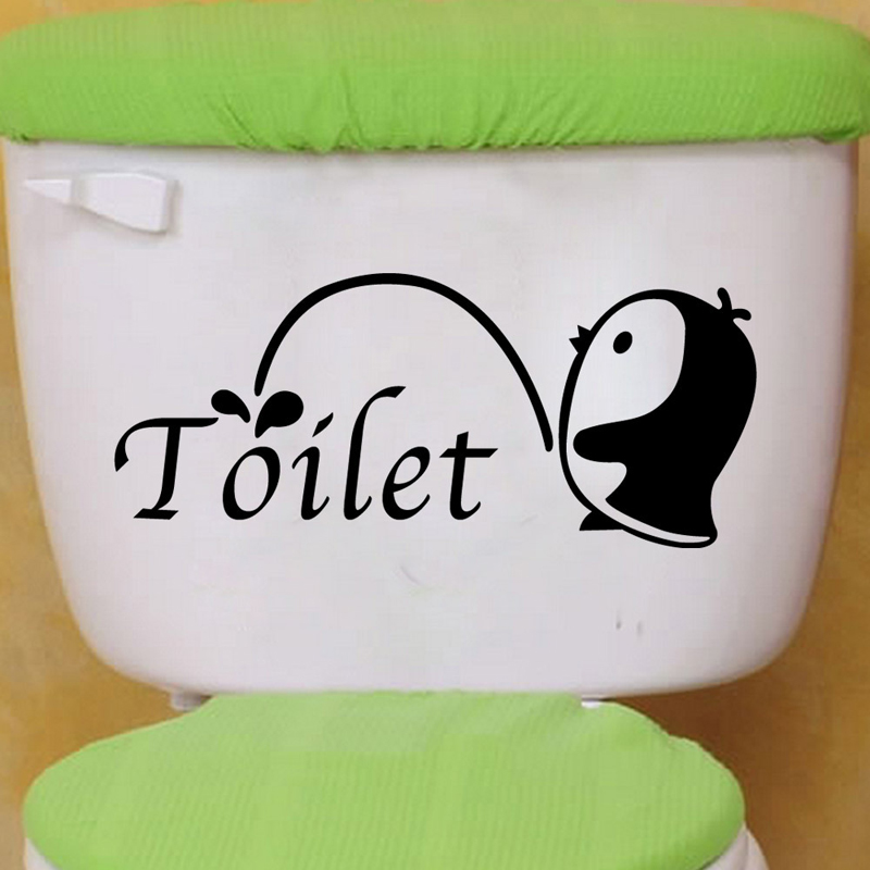 Cute Penguins Pee Wall Toilet Stickers Vinyl Washing Bathroom Decors For Home Decoration 3D Cartoon Decal Sticker On The Wall