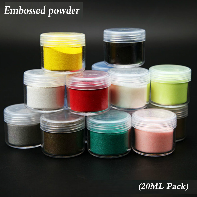Real Color Relief Powder, Convex Powder, Paper Art Supplies,  Embossed Embossing Powder Rubber Stamp 20ml, Multicolored Full