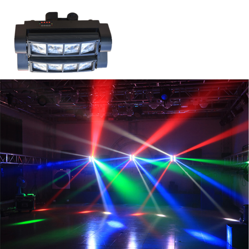 AUCD 30W 8 Heads LED RBGW Stage Lights Beam Digital Display DMX Show Dance Disco Bar Xmas Home Party DJ Lighting LE-M8H rg mini 3 lens 24 patterns led laser projector stage lighting effect 3w blue for dj disco party club laser