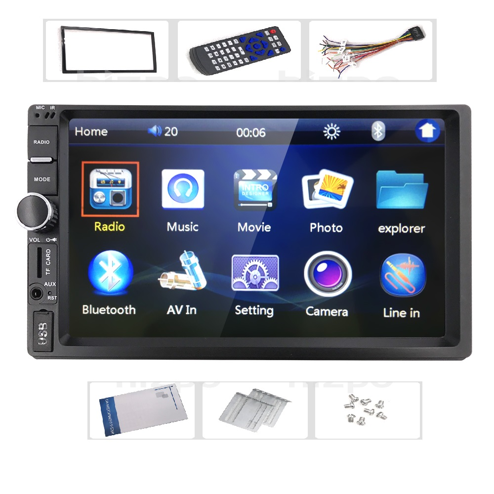 2 Din Car Radio Player 7 inch HD Touch Screen Wireless Bluetooth Car Stereo MP5 Player Rear View Camera FM/USB/TF/AUX IN Russian car radio 7 inch lcd touch screen car radio player bluetooth hands free movie rear view camera 2 din audio stereo mp5