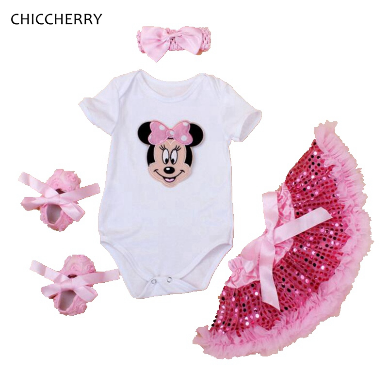Pink Minnie Baby Girl Clothes Cartoon Infant Bodysuit Headband Set Lace Party Skirts Vetement Fille Bebe Toddler Girls Outfits dg home кушетка chaise longue lc4 dg f sf363