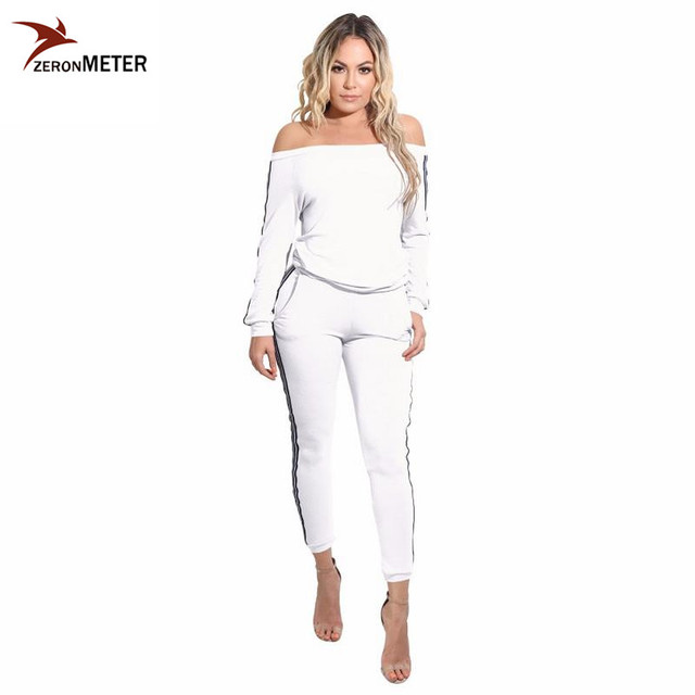 Sexy Slash Neck Crop Tops and Pants Brand Womens Two Piece Set Loose Casual Fitness Tracksuit Set Hoodies Sweatshirt Female