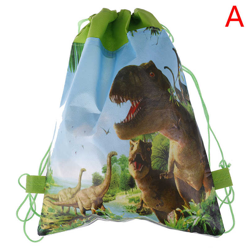 Decorate Non-woven Fabric Baby Shower Drawstring Gifts Bags Birthday Party Boys Favors Cartoon Cute Dinosaur Theme